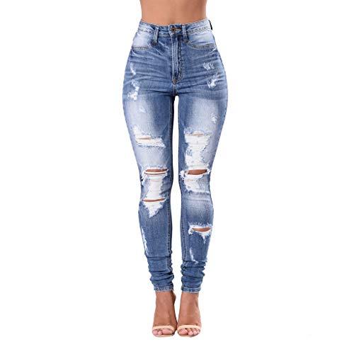 Hffan Jeans Damen Jeanshosen Röhrenjeans Skinny Slim Fit Stretch Stylische Boyfriend Jeans Zerrissene Destroyed Jeans Hose mit Löchern Lässig High Waist Stretchy Pencil Pants