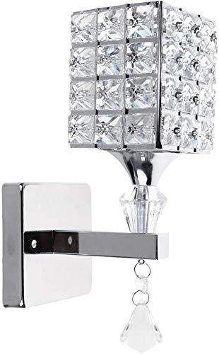 Hjz moderna lampada da parete in cristallo lampada da parete camera da letto corridoio luce da parete supporto e14 presa, lampadina non inclusa (argento)