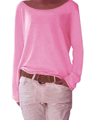 Yidarton Damen Langarm T-Shirt Rundhals Ausschnitt Lose Bluse Hemd Pullover Oversize Sweatshirt Oberteil Tops (Rot, XL)