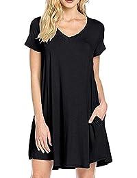 LAEMILIA Femme Chemise Longue Manches Courtes Col-O Tunique Lâche Mini Robe  T-Shirt 7a6b2f8aa85c