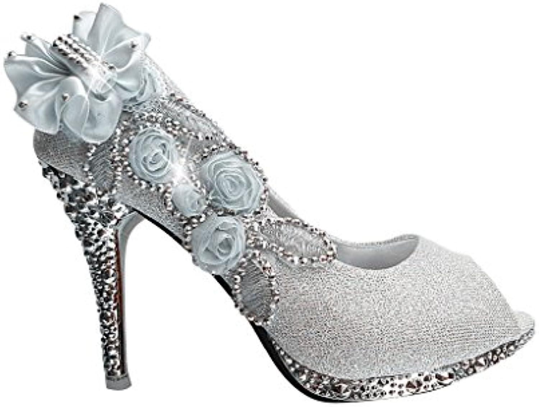 afad5aa15c274 Wotefusi Women 3D Flowers Rhinestone Peep-toe Bling Wedding Wedding Wedding  Party Club Bride Bridesmaid High Heels Shoes Stiletto B01F8KK8W6 Parent  b27f76