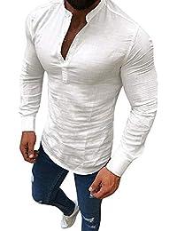 Jaminy Herren Hemden Langarm Leinen Retro Schlank Social Business Bluse Mode Freizeithemden Tops M-3XL