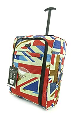 Super Lightweight Cabin Approved Luggage Travel Wheelie Bag suitcase Trolley Cabin Approved Case 50x40x20 Easyjet Ryanair (British Flag)
