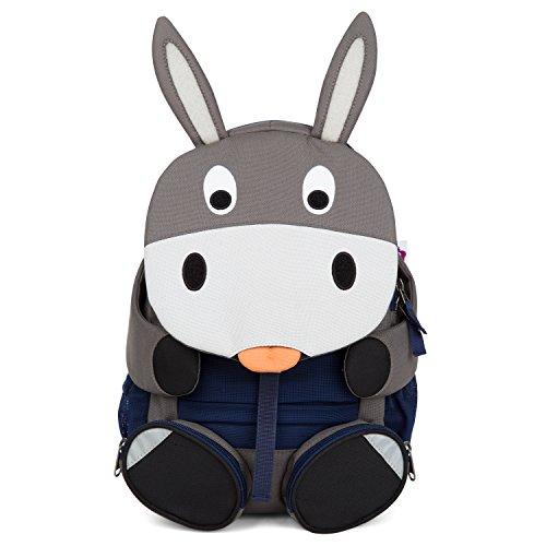 Affenzahn Kinderrucksack mit Brustgurt für 3-5 jährige Jungen und Mädchen im Kindergarten oder Kita der große Freund Eddy Esel - grau