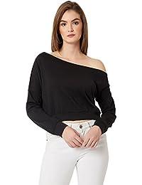 Miss Chase Women's Black One Shoulder Crop Sweatshirt