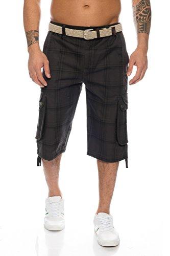 Herren Shorts Dehnbund Bermuda Kurze Hose Stretch Verschiedene Farben ID230, Größe:XL;Farbe:Grau (Herren-stretch-cargo-shorts)