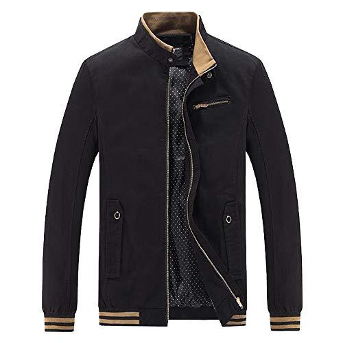 Xmiral Herren Jacke Mantel Outwear Winter Warm Schlank Lange Reißverschluss Mantel Bluse (EU 38,Schwarz)