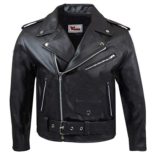 German Wear Kinder Motorradjacke Rockerjacke Chopper Brando Lederjacke, L/164-170