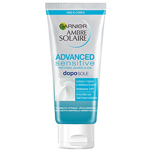 Garnier Ambre Solaire Protezione Solare Advanced Sensitive, Latte Doposole SOS Rossori e Scottature, senza Parabeni e senza Coloranti, 200 ml
