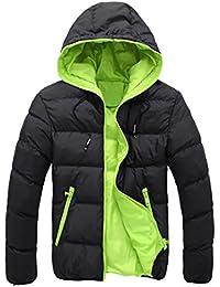 SHOBDW Hombres delgado informal chaqueta caliente encapuchado invierno gruesa abrigo parka abrigo con capucha
