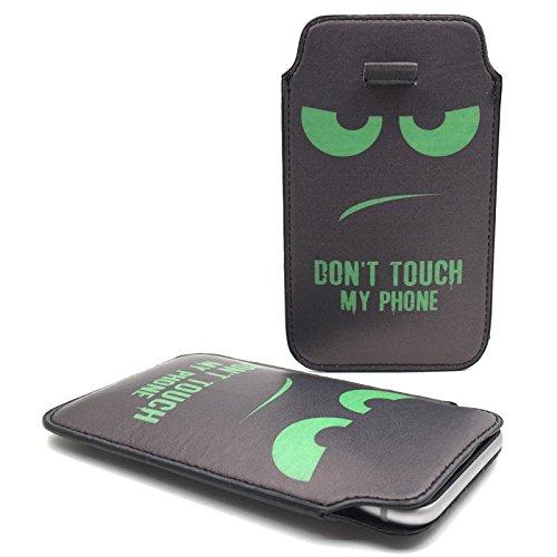 Handy Hülle Slide Tasche Etui Case Schutzhülle Bumper Cover Sleeve Universal Neu, Motive:Dont Touch My Phone Grün, Handymodell:Gionee Ctrl V5