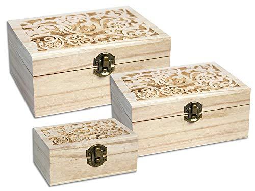 Vetrineinrete® 3 scatoline in legno con incisioni decorate scatolina varie dimensioni matrioska da decorare portaoggetti portagioie gioielli per decoupage pittura idea regalo (fiori) d56