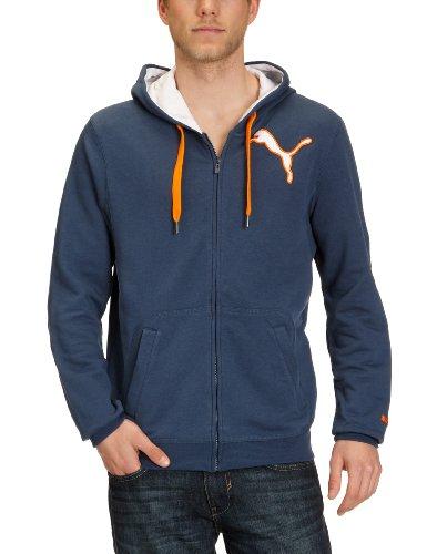PUMA Herren Sweatjacke Logo Hooded dark denim-vibrant orange