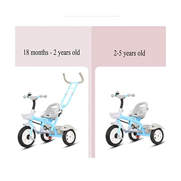 GSDZSY - Child Tricycle With Removable Push Handle Bar, Adjustable Seat And Seat Belt, Shock Absorption EVA Wheel,Folding Footrest,1.5-6 Years,H GSDZSY  2