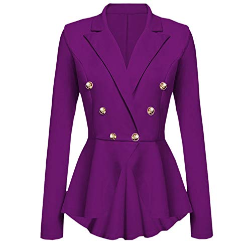 Deloito Damen Mode Langarm Blazer Rüschen Schößchen Taste Beiläufig Jacke Mantel V-Ausschnitt Outwear (Lila,Large)