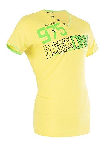 M448 BLACKROCK Herren Shirt T-Shirt Kurzarm V-Neck Clubwear V-Ausschnitt Gelb