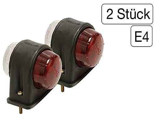 MS-Warenvertrieb 2 Stück Begrenzungsleuchte rot/weiß flach + Leuchtmittel 12V - 5 W