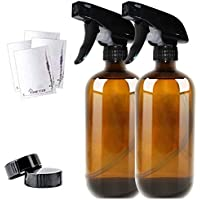 Amber Glass Spray Bottle Boston 2 Pack 455ml (16oz) - Refillable Container with Trigger Sprayers, Caps and lables, Glass Bottle for Essential Oils, Cleaning, Room Spritzers or Aromatherapy
