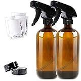 THETIS Homes Botellas de Spray vacías de ámbar Boston de 16 onzas (2 Paquete de) - Contenedor rellenable con pulverizadores de gatillo, Tapas y Etiquetas, Frasco de Vidrio para aceites Esenciales