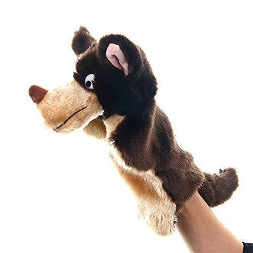 Joyibay Kids Hand Puppet Storytelling Cute Wolf Plush Puppet Animal Puppet (Dark Brown)