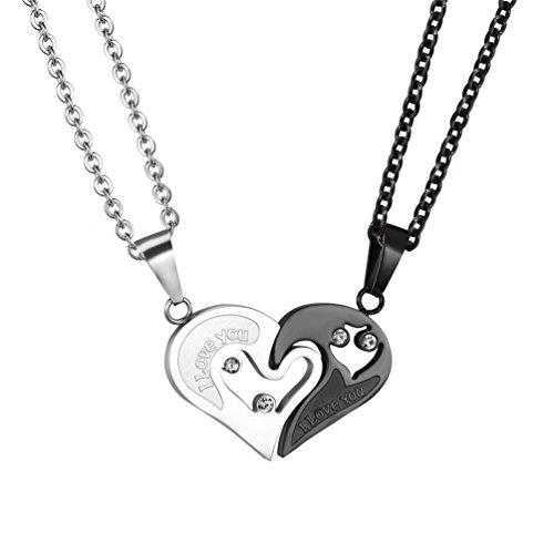 PROSTEEL Liebespaar Anhänger Halskette Herz Puzzle Partner Kettenanhänger Edelstahl Partnerschaftsketten für Sie und Ihn, Silber und Schwarz (Herz Halskette Paar)