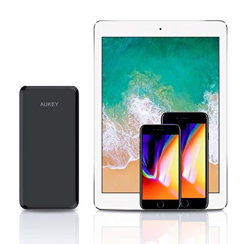 AUKEY USB C Power Bank 20000mAh Caricabatterie Portatile con 4 Porte e 3 Ingressi per iPhone X/8/7/Plus/6, Samsung S8/S8+, Nexus 6P, iPad, Tablets