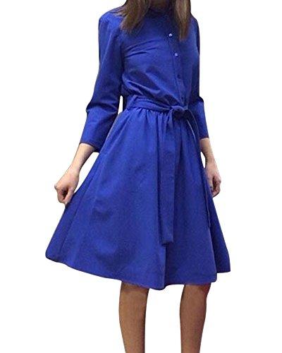 SaiDeng Femme Robe De Cocktail Swing Couleurs Solides Manche Longue Bleu