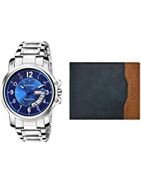 Laurels Combo Pack of Day and Date Function Analogue Blue Dial Men's Watch and Blue Wallet