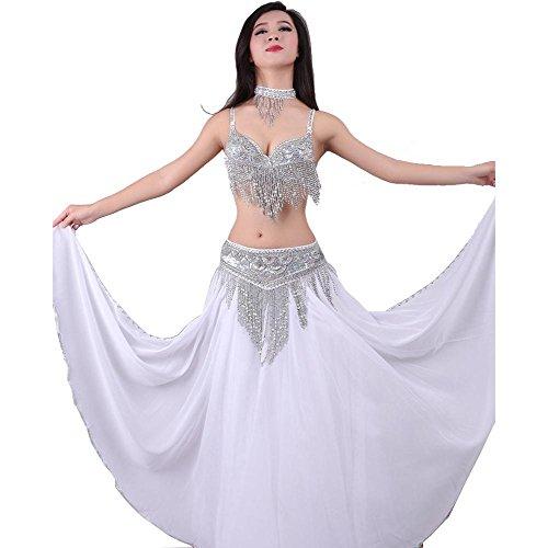 Wgwioo Dance costumes Frauen Bauchtanz BH Rock Bund Neck verschleiß Handmade Pailletten quaste modern Indien professionelle Leistung kostüm Praxis Satz White l