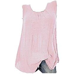 VECDY Blusas para Mujer Elegantes Tallas Grandes, Camiseta Sin Mangas Holgada del Chaleco Algodon Lino Camiseta Suelto Verano Tops Casual Fiesta T-Shirt Ajustable (Rosa,S)