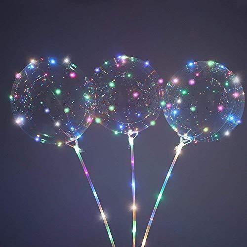 goodjinHH 3 stücke Warmweiß LED Licht Beste Dekoration Wiederverwendbare Leuchtende Led Ballon Transparente Runde Blase Dekoration Party Geburtstag Hochzeit