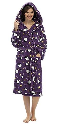 Tom Franks Peignoir Polaire Imprimé Mouton avec Capuche Femme (Violet)