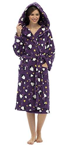 Peignoir de Bain Ultra Doux Chaud Douillet Hiver Femme Mouton Violet