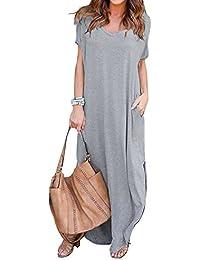 c0766a8c43f VONDA Women s Split V Neck Short Sleeve with Side Pockets Summer Long Maxi  Dress