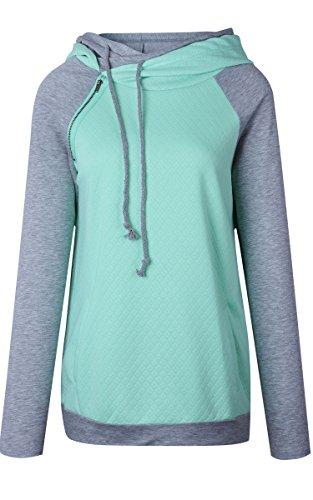 ECOWISH Damen Kontrastfarbe Pulli Pullover Rollkragen Sweatshirt Kapuzenpulli Top Hoodies Grün XL - 5