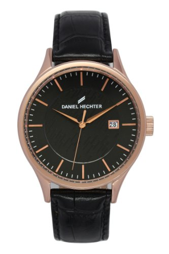 Daniel Hechter DHH - 003/2AA-Men's Watch Analogue Quartz Black Dial Black Leather Strap