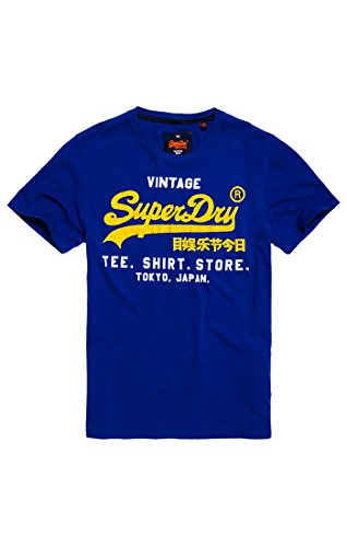 Superdry Herren T-Shirt Shop Duo Lite Tee, Blau (Electric Blue 3EB), XL (Electric Blue Kleidung)