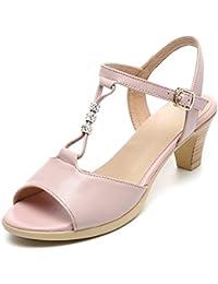 Elegant high shoes Sandales Femme Sandales D'éTé Avec des Chaussures en Cuir DéContractéEs Boucles D'Oreilles en Bouche Confortable Robe Taille Grande Chaussures pour Femmes, White, 39