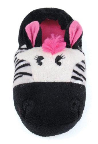 Junior Gr Girls Hausschuhe Zebra 3 3d motiv Fleece 9 Tier Babyschuhe New Kinder pqvaPP