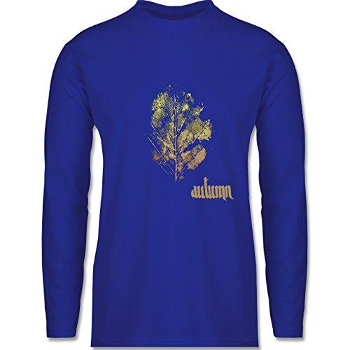 Shirtracer Blumen & Pflanzen - Herbstblatt - Autumn Leaf - Herren Langarmshirt Royalblau
