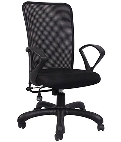 Hetal Enterprises Mesh Metal Medium Back Office Chair (Black)