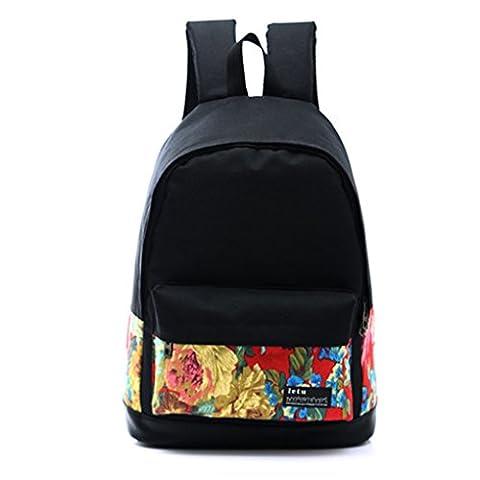 QHGstore Segeltuch-Rucksack-Tasche Niedliche Leichte Rucksäcke für Teenager Junge Mädchen Blume
