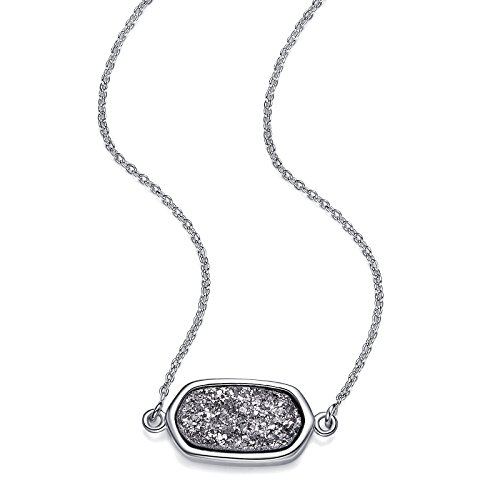 W & M Silber Anhänger Halskette In Platin Drusy Perfekt Druzy mit inspirierend Geschenk-Karte für Thanksgiving Day, Geburtstag und Jahrestag Tag