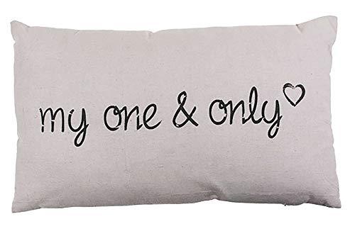 Kamaca My ONE & ONLY Kissen 30 cm x 50 cm Flauschig gefülltes Kissen mit Reißverschluss Bezug aus 100% Baumwolle EIN Hingucker und wertiges Geschenk (My ONE & ONLY Creme)