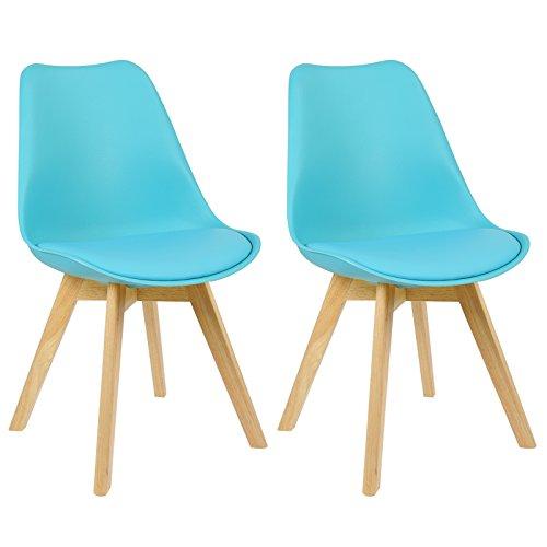 WOLTU 2 Chaises de Salle à Manger Cuisine/Salon chaises,Design en Similicuir et Bois Massif,Bleu BH29bl-2