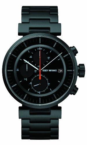 Issey Miyake SILAY002 - Reloj cronógrafo de cuarzo unisex, correa de acero inoxidable color negro