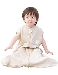 Happy cherry Saco de Dormir para Bebés de Verano sin Mangas de Algodón Bolsa de Dormir para Niños con Tres Aberturas Transpirable Slepping Bag bebé - Marrón - 5-36 Meses