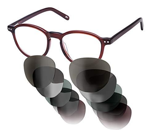 Sym Sonnenbrille aus Acetat mit HD Gläsern und wählbarer Gläserfarbe und Sehstärke (von -4.00 bis +4.00)   Modell 04   Crystal Medium Brown   High Gloss