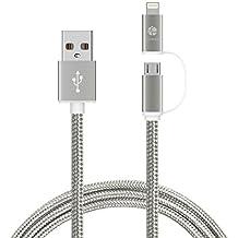 Cable Micro USB, HUNDA 1M 2 en 1 cable USB de carga y datos de trenzado de Nailon [Apple MFi Certified] cable de carga lightning para todos dispositivos Android y iPhone 6/ 6 plus/7/ 7 plus/ iPad Air 1/2 iPad mini1/2/3 etc.(Gris)