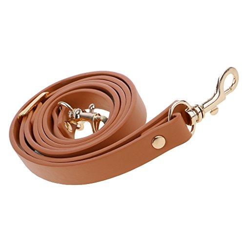 MagiDeal PU-Leder Crossbody Tasche Einstellbar Taschenbuegel Taschenhenkel Taschengriffe 145cm - Brown + Gold